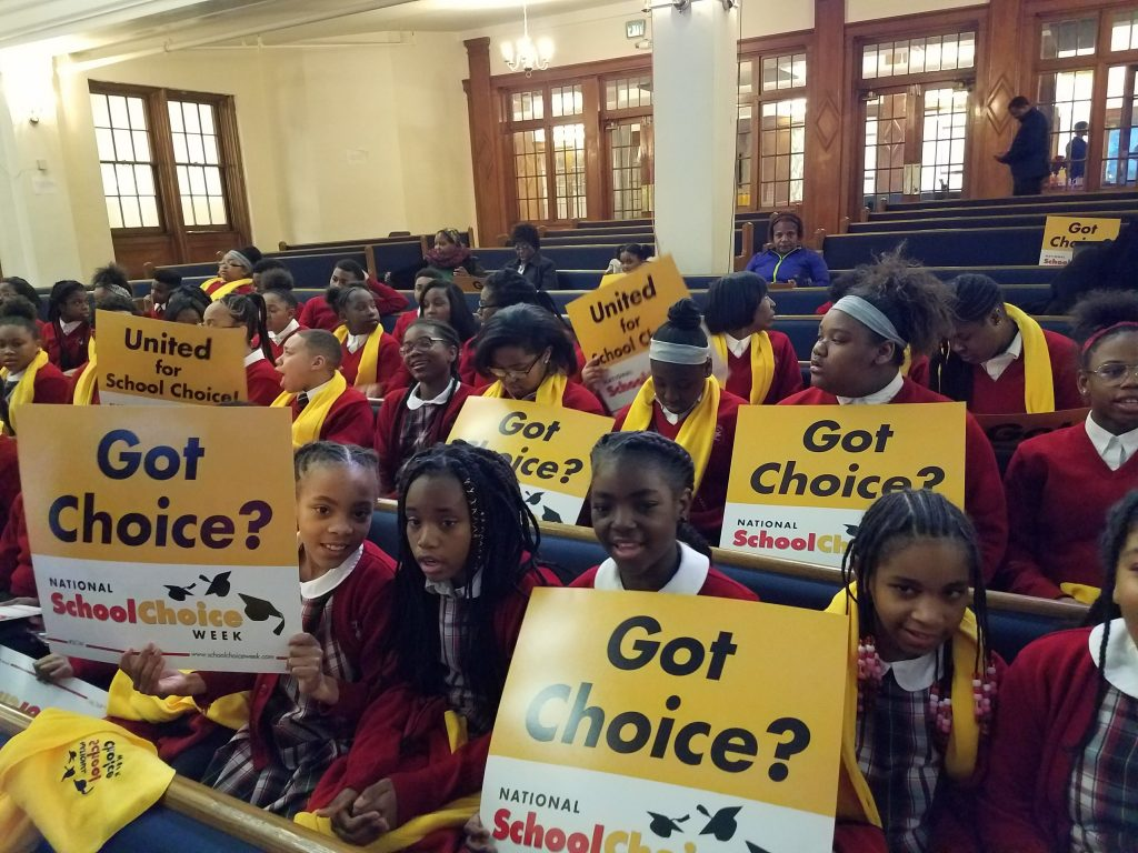students celebrate school choice